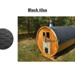Black tiles for a barrel sauna