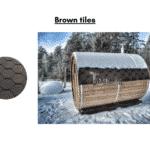 Brown tiles for a barrel sauna