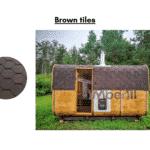 Brown tiles for rectangular sauna