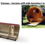 Canopy – terrace with side benches 1 m for a barrel sauna