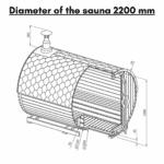 Diameter of the sauna 22 m