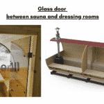 Glass door between sauna and dressing rooms for a barrel sauna