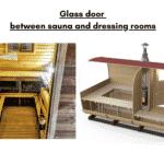 Glass door between sauna and dressing rooms for rectangular sauna