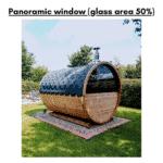 Half panoramic window for a barrel sauna