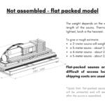 Not assembled – flat packed model for a barrel sauna