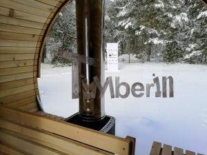 Outdoor garden sauna with full panoramic glass 19
