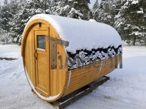 Outdoor garden sauna with full panoramic glass 3
