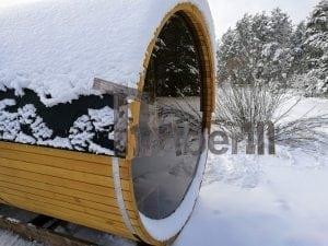 Outdoor garden sauna with full panoramic glass 7