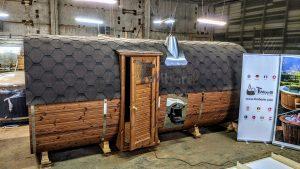 Rectangular barrel wooden outdoor sauna 2 1