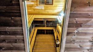 Rectangular barrel wooden outdoor sauna 23 1
