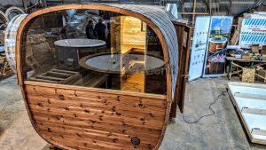 Rectangular barrel wooden outdoor sauna 32 1