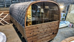 Rectangular barrel wooden outdoor sauna 33 1