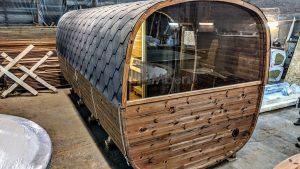 Rectangular barrel wooden outdoor sauna 34 1