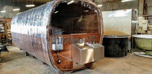 Rectangular barrel wooden outdoor sauna 4