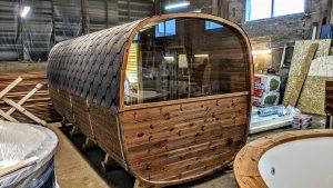 Rectangular barrel wooden outdoor sauna 7 1