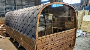 Rectangular barrel wooden outdoor sauna 8 1