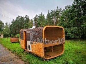 Rectangular wooden outdoor sauna 10
