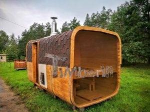Rectangular wooden outdoor sauna 12