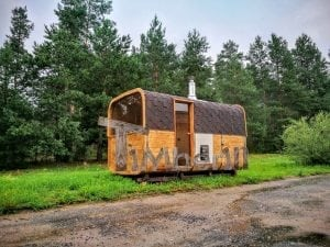 Rectangular wooden outdoor sauna 14