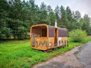 Rectangular wooden outdoor sauna 15
