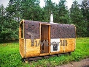 Rectangular wooden outdoor sauna 36
