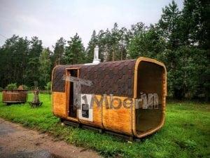 Rectangular wooden outdoor sauna 37