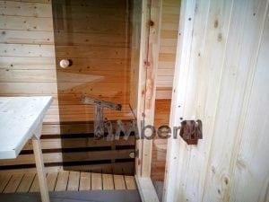 Rectangular wooden outdoor sauna 43