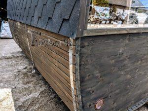 Rectangular wooden outdoor sauna 5 2