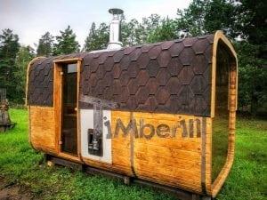 Rectangular wooden outdoor sauna 7
