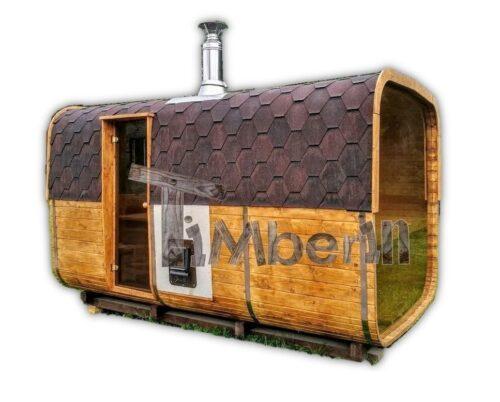 Outdoor wood burning sauna