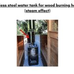 Stainless steel water tank for wood burning heaters for a barrel sauna