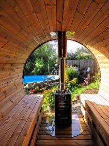 Udendørs sauna tønde i træ til haven Ole Nibe Denmark 3