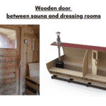 Wooden door between sauna and dressing rooms for a barrel sauna