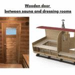 Wooden door between sauna and dressing rooms for rectangular sauna