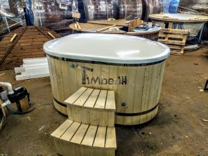 Oval hot tub for 2 persons with fiberglass liner 1