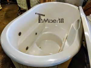 Oval hot tub for 2 persons with fiberglass liner 11