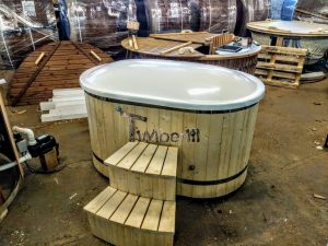 Oval hot tub for 2 persons with fiberglass liner 2