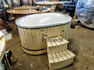Oval hot tub for 2 persons with fiberglass liner 3