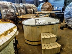 Oval hot tub for 2 persons with fiberglass liner 6