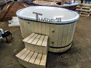 Oval hot tub for 2 persons with fiberglass liner 8