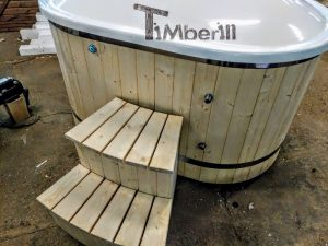 Oval hot tub for 2 persons with fiberglass liner 9