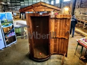 Outdoor indoor wooden shower thermo wood with LED 10