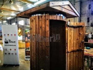 Outdoor indoor wooden shower thermo wood with LED 4