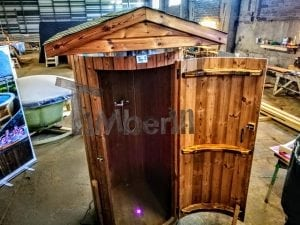 Outdoor indoor wooden shower thermo wood with LED 5