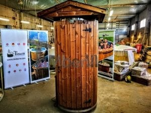 Outdoor indoor wooden shower thermo wood with LED 7