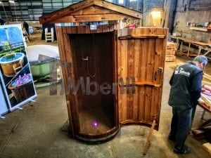 Outdoor indoor wooden shower thermo wood with LED 9