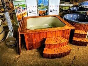 Wood fired hot tub square rectangular model with external wood burner 1