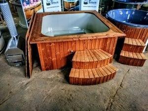 Wood fired hot tub square rectangular model with external wood burner 2