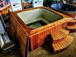 Wood fired hot tub square rectangular model with external wood burner 3
