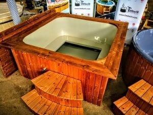 Wood fired hot tub square rectangular model with external wood burner 7